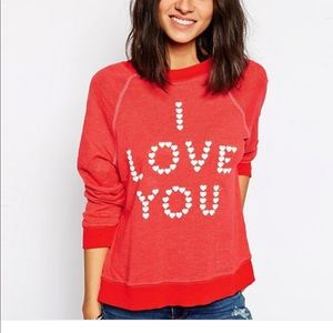 "Wildfox pink ""I Love You"" sweatshirt"